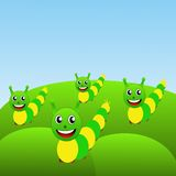 Four amusing caterpillars on a green lawn Royalty Free Stock Photography