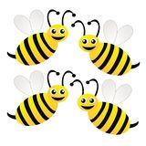 Four amusing drawn bees on a white background Royalty Free Stock Photo