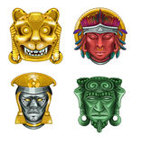 Four ancient masks Stock Images