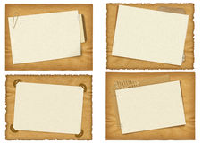 Four ancient paper designs. Isolated on a white background Royalty Free Stock Photos