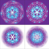 Angel Mandala. Four angel mandala on the color background Stock Photos