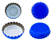 Isolated Blue Metal Caps Stock Photography