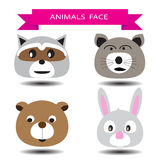 Four animal face cartoon character design Royalty Free Stock Image