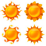 Four animated images of the sun Stock Photo