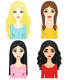Four animation girls Royalty Free Stock Image