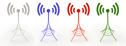 Four antennas sending radio waves. 3D created antennas sending wireless signal in different colors Royalty Free Stock Images