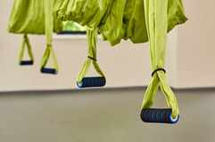 Four antigravity yoga hammocks Royalty Free Stock Images