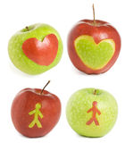 Four apples. With heart and man silhouette Stock Image