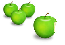 Four apples. Four green apples including one with a bite Stock Photos