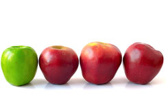 four green apples in a row stock image image of concept 7363621