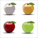 Four apples. On white background. Gold, silver, red, green apples. Vector illustration Stock Images