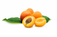 Four Apricots. Isolated on a white background Stock Photography