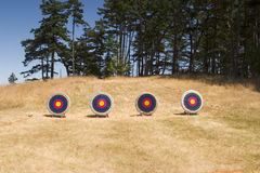 Four Archery Targets. Are set up on an archery range at a summer camp. These targets have been pockmarked by arrows royalty free stock images