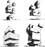 Four architectural sketches of a modern abstract architecture Royalty Free Stock Images