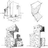 Four architectural sketches of a modern abstract architecture Stock Images