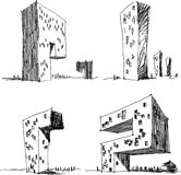 Four architectural sketches of a modern abstract architecture Stock Photo