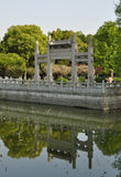 The four archways in spring season. The four archways is built between lake and feiying pagoda Royalty Free Stock Images