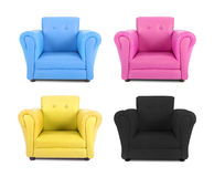 Four armchairs with the colors of four-color process royalty free stock photo