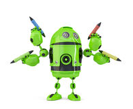 Four-armed 3d robot with pencils. Multitasking concept. Isolated. Contains clipping path. Four-armed 3d robot with pencils. Multitasking concept. Isolated on Royalty Free Stock Photo