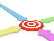 Four arrow pointing on target Stock Photo