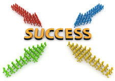 Four arrows of characters going to success stock image