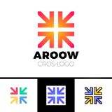 Four arrows logo form cross or plus graphic concept, intersection 4 directions creative emblem.  Stock Image