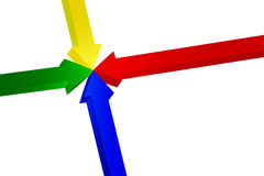Four arrows pointing. Four colors arrows pointing from all quarters to the centre Royalty Free Stock Photo