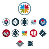 Four arrows unusual icons vector set, vector special business, t. Eamwork and cooperation abstract symbols Royalty Free Stock Image