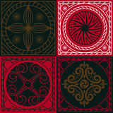 Four art squares with national Indian ornaments Stock Photo