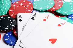 Four ases and casino chips Stock Photo