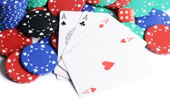 Four ases and casino chips Royalty Free Stock Photo