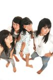 Four asian girls. High angle stock images