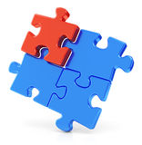Four assembling puzzle pieces. Four assembling color red and blue puzzle pieces isolated on white background. Business teamwork concept vector illustration