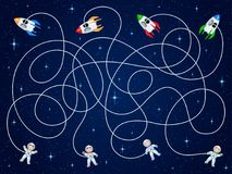 Four astronauts and four spacecraft are floating in open space with stars. Unravel the hoses and guess where is the ship?. Children`s game is a maze Royalty Free Stock Photo