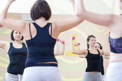 Four Athletic Caucasian Women Doing Work Out Exercises with Barbells in Gym Royalty Free Stock Image