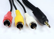 Four audio video cord Stock Photo