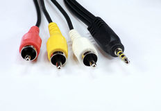 Four audio video cord Royalty Free Stock Photos