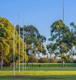 Four Australian football goal posts