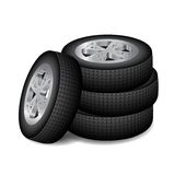 Four auto wheels Royalty Free Stock Images