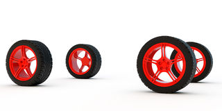 Four automobile wheels Royalty Free Stock Photography