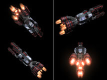 Four Back Views of Black and Red Space Ship Stock Image