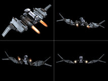 Four back views of a StarFighter in action Stock Photos