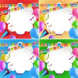Four background with colorful balloons and flags. Illustration Royalty Free Illustration
