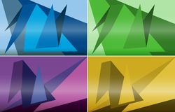 Four background designs with triangle shapes on colorful backgro Stock Photos