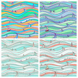 Four background the marine settings. Abstract sea seamless texture of different colors royalty free illustration