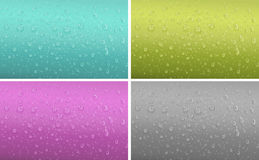 Four background patter with water drop Stock Photos