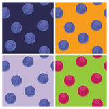 Four background pattern with blueberries on different colors Stock Photos