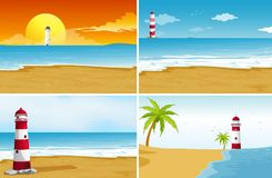 Four background scenes with beach and ocean. Illustration Stock Photography