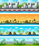 Four background scenes with buildings and nature. Illustration Stock Images