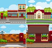 Four background scenes with buildings and roads. Illustration Royalty Free Stock Photo